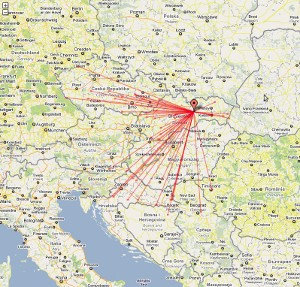 mapa spojení